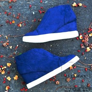 NEW🔥 Navy Elastic Sneaker Platform Wedge Heel Zip